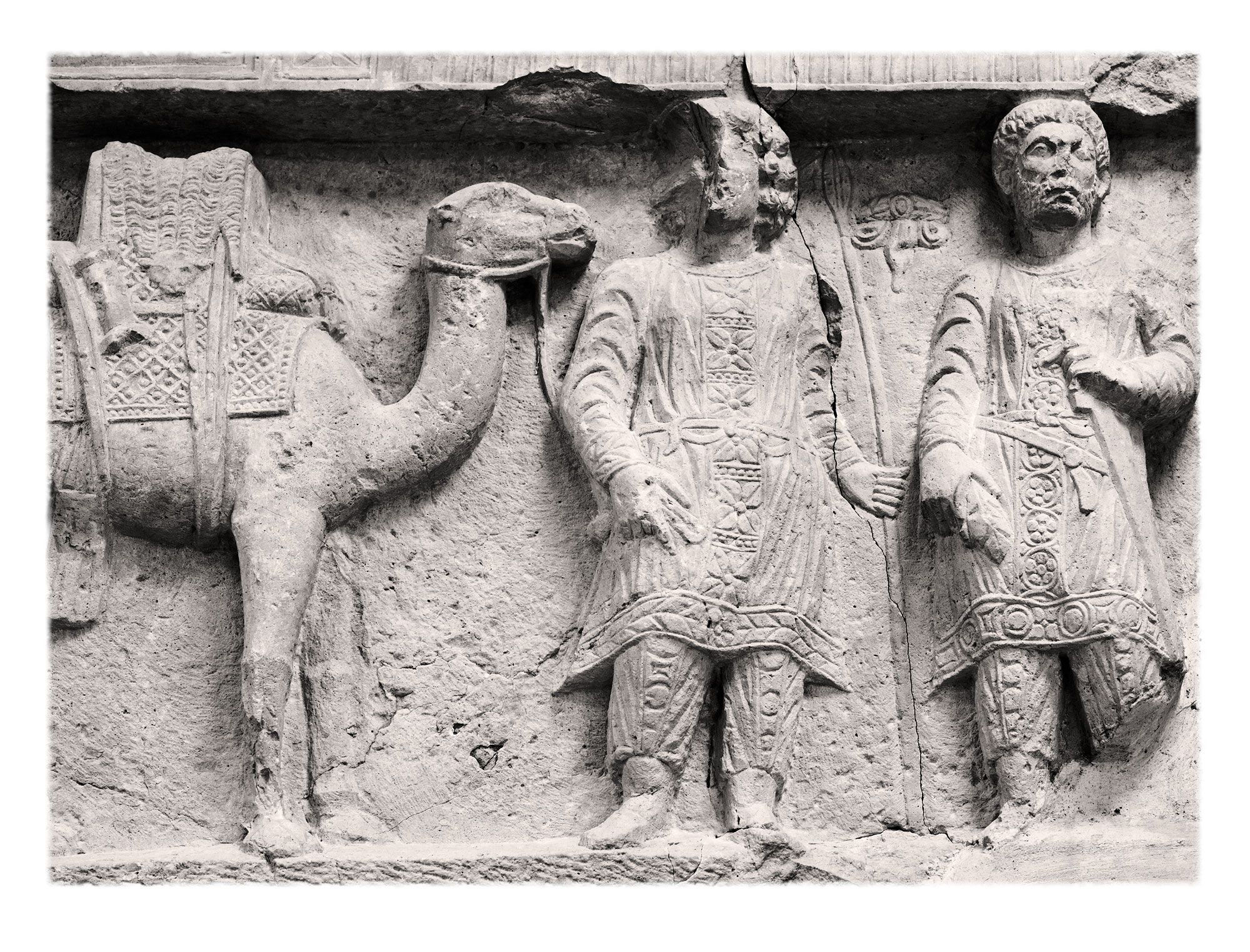 Palmyra earned its wealth through caravan trade between the Euphrates River (hence Persia, India and China) and the Mediterranean West (specifically, Egypt, Rome and, later, Byzantium). Note the Parthian dress of the two men.
