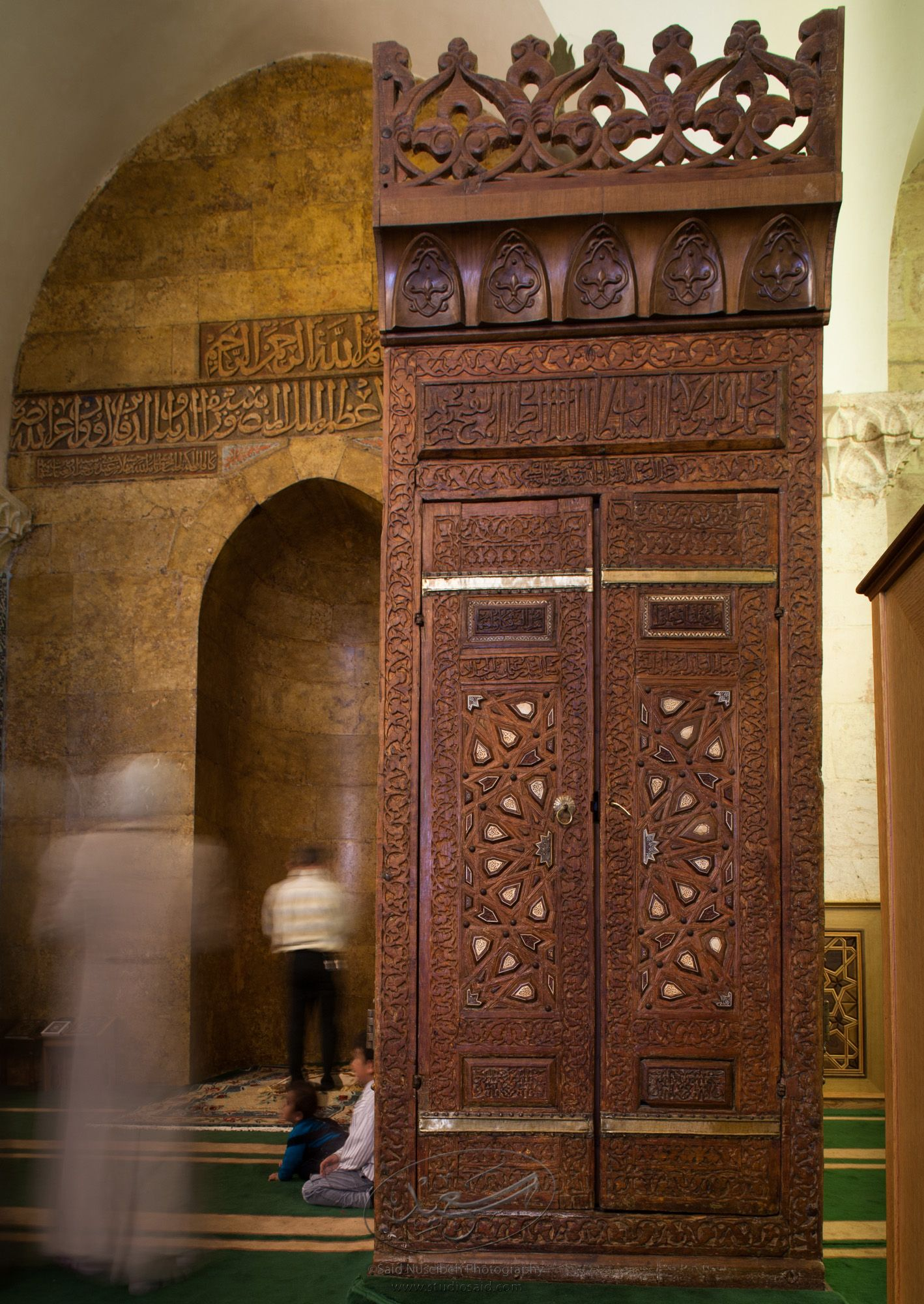 """Mihrab and Minbar, Front.""    The late-13th / early-14th c. Mamluk minbar, or pulpit, of Sultan al-Nasir Muhammad, the ninth Mamluk Sultan from Cairo and son of Qalawun. The minbar was located in the Umayyad Mosque in Aleppo, Haleb, prior to its damage and disappearance in May 2013."