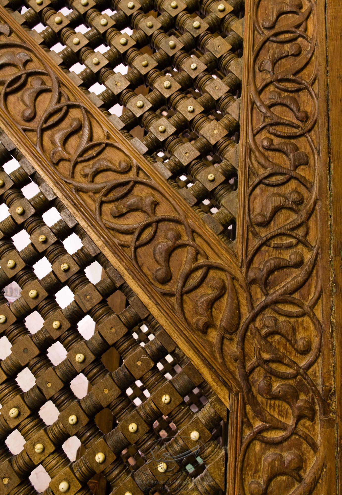 """Mashrabiyya and Floral Interlace. Minbar, Carved Woodwork Detail""The late-13th / early-14th c. Mamluk minbar, or pulpit, of Sultan al-Nasir Muhammad, the ninth Mamluk Sultan from Cairo and son of Qalawun. The minbar was located in the Umayyad Mosque in Aleppo, Haleb, prior to its damage and disappearance in May 2013."