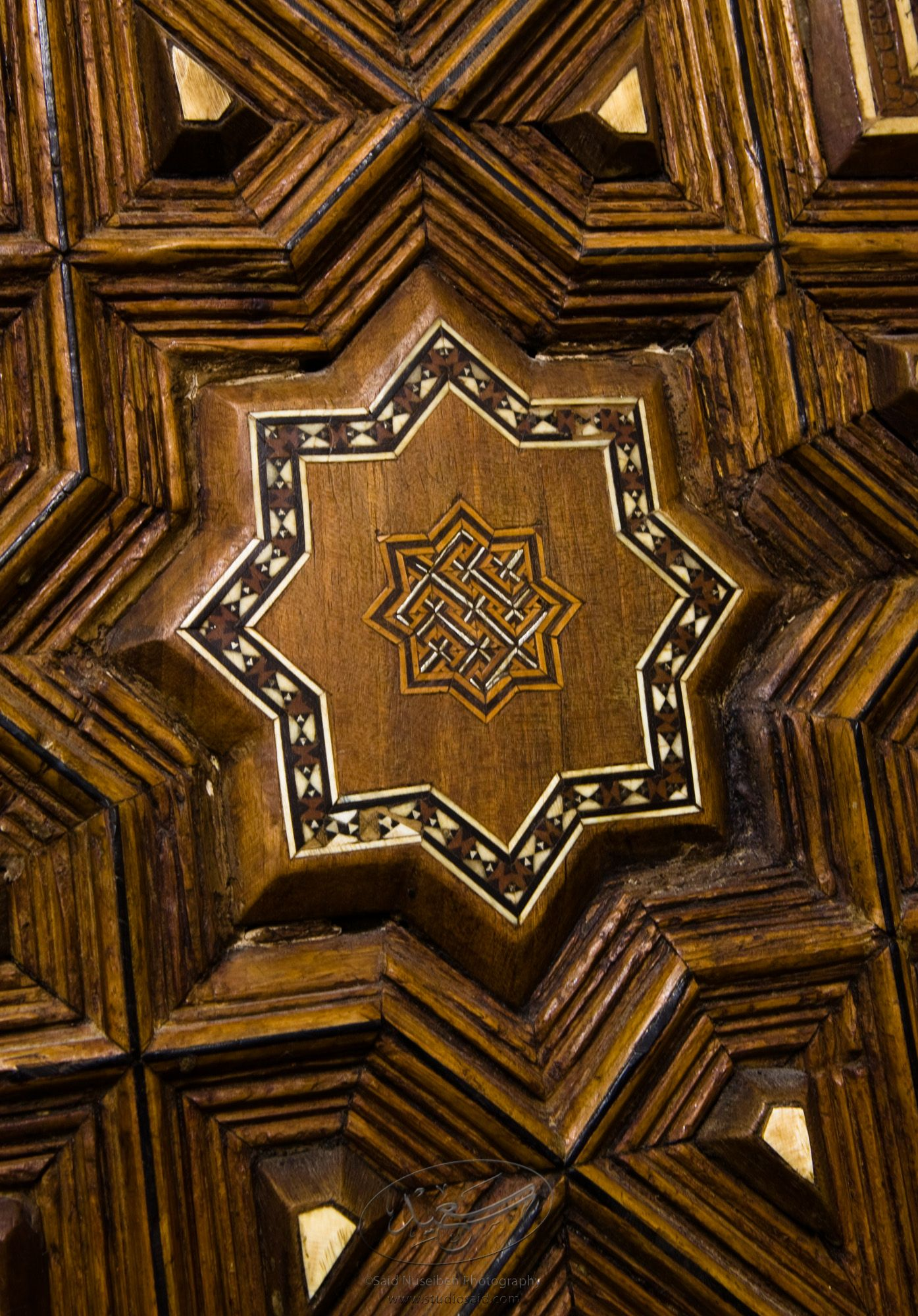 """Octagons. Minbar, Carved Woodwork and Inlay Detail""The late-13th / early-14th c. Mamluk minbar, or pulpit, of Sultan al-Nasir Muhammad, the ninth Mamluk Sultan from Cairo and son of Qalawun. The minbar was located in the Umayyad Mosque in Aleppo, Haleb, prior to its damage and disappearance in May 2013."