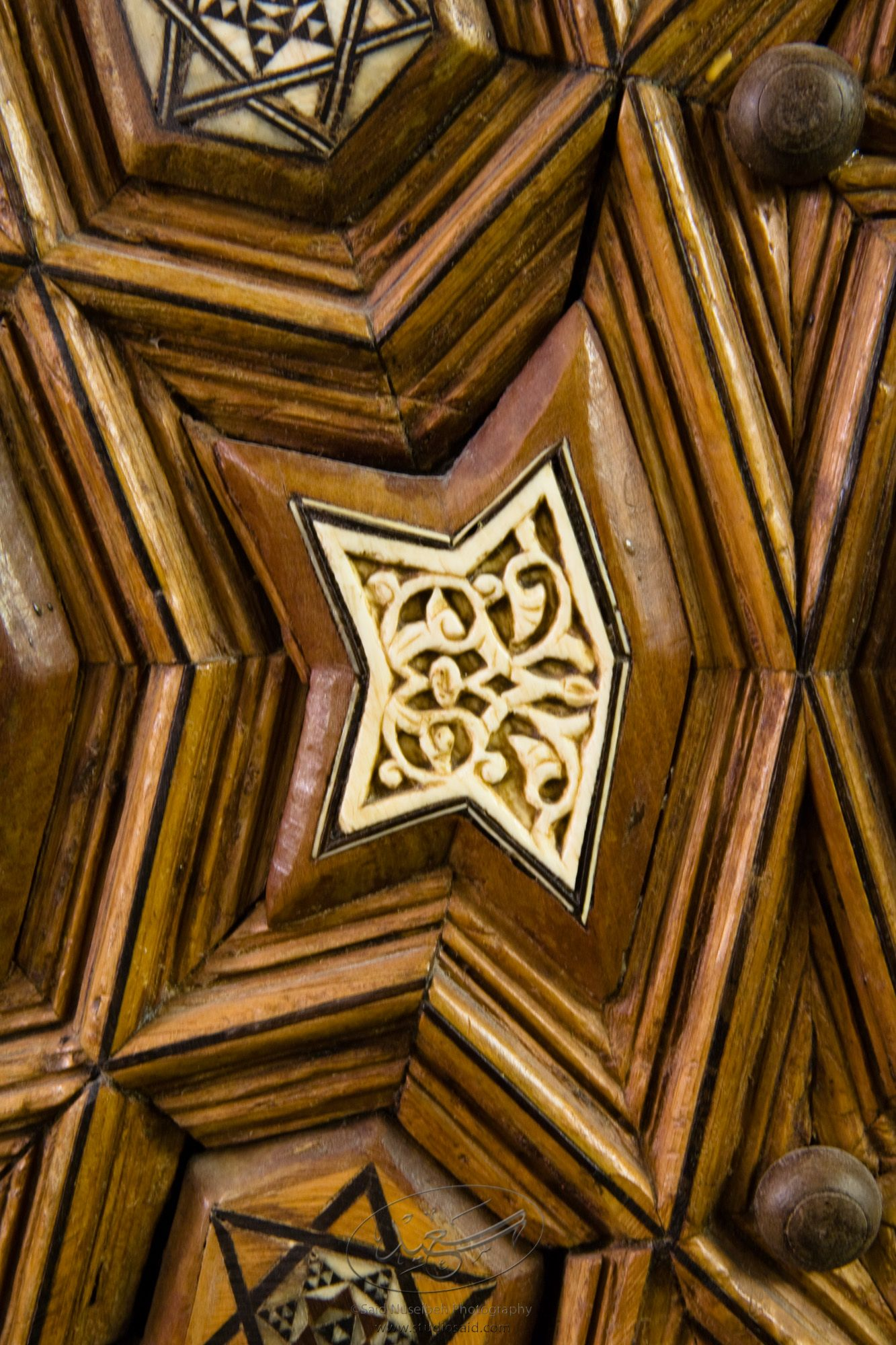"""Minbar, Carved Woodwork and Inlay Detail""The late-13th / early-14th c. Mamluk minbar, or pulpit, of Sultan al-Nasir Muhammad, the ninth Mamluk Sultan from Cairo and son of Qalawun. The minbar was located in the Umayyad Mosque in Aleppo, Haleb, prior to its damage and disappearance in May 2013."