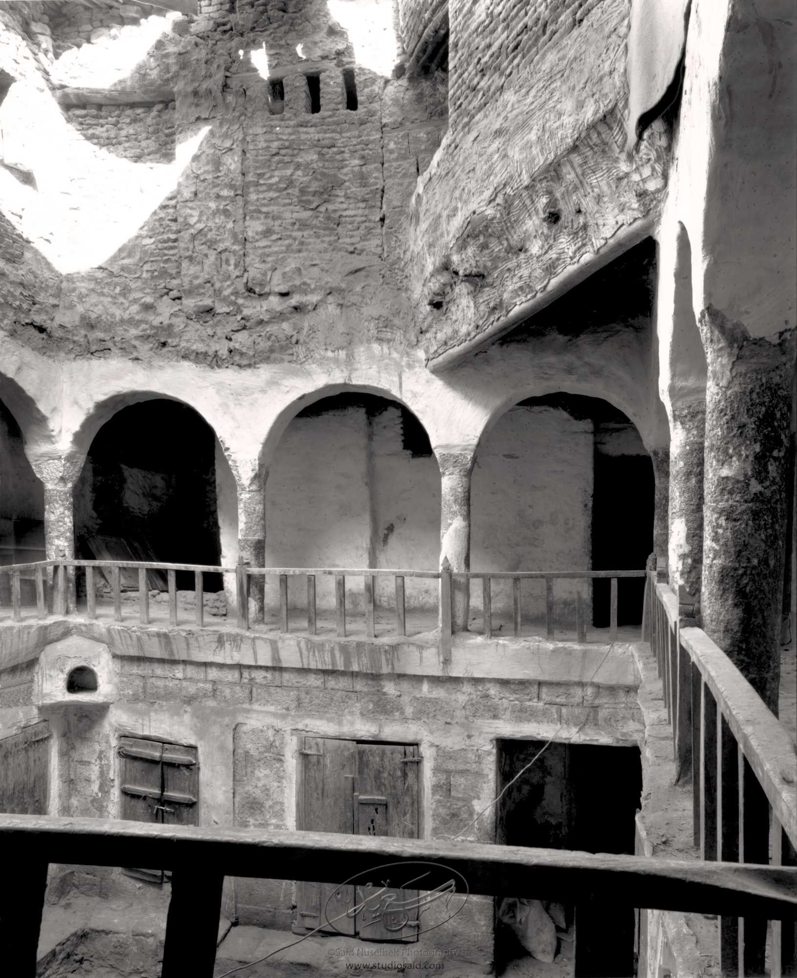 Caravansery from 2nd floor balcony, the lodging for itinerant traders. Old City Sana'a